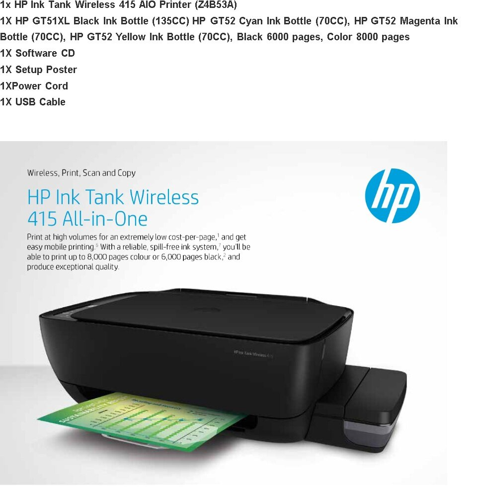HP 415 All-in-One Ink Tank Wireless Color Printer ( Print, Copy, Scan,  Wireless) (Z4B53A) [FREE REDEMPTION: Touch & GO E- wallet credit or Boost  E-