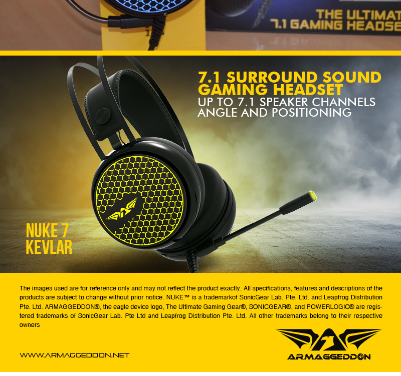 Armaggeddon Nuke 7 Surround 7 1 Gaming Headphones with High Sensitivity  Microphone For Laptop and PC (Compatible for PS4)