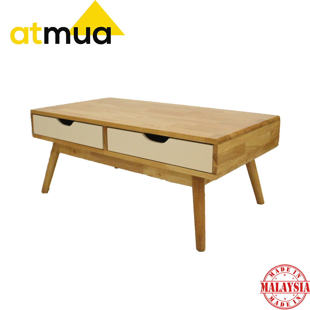 Rubberwood Coffee Table.Atmua Mimi Coffee Table 2 Drawer Full Solid Rubber Wood Ready Fix