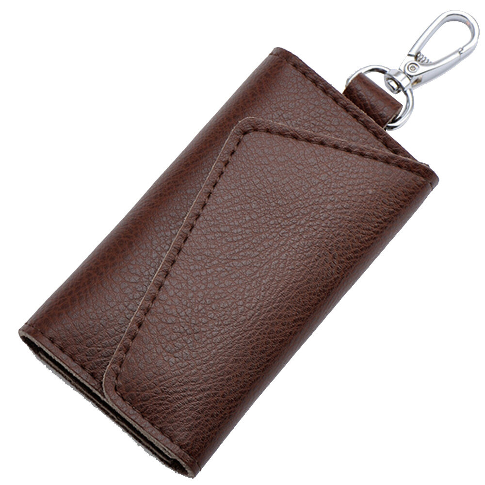 Multi-functional Genuine Leather Folding Door Key Electronic Key Holder Bag  Credit Card Coins Cash Snap Button Holder Wallet Bag Pouch Coffee