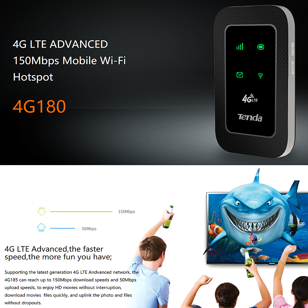 TENDA 4G180 4G LTE Advanced Portable Wireless WiFi Modem Router MiFi Webe  YES UniFi Mobile Umobile