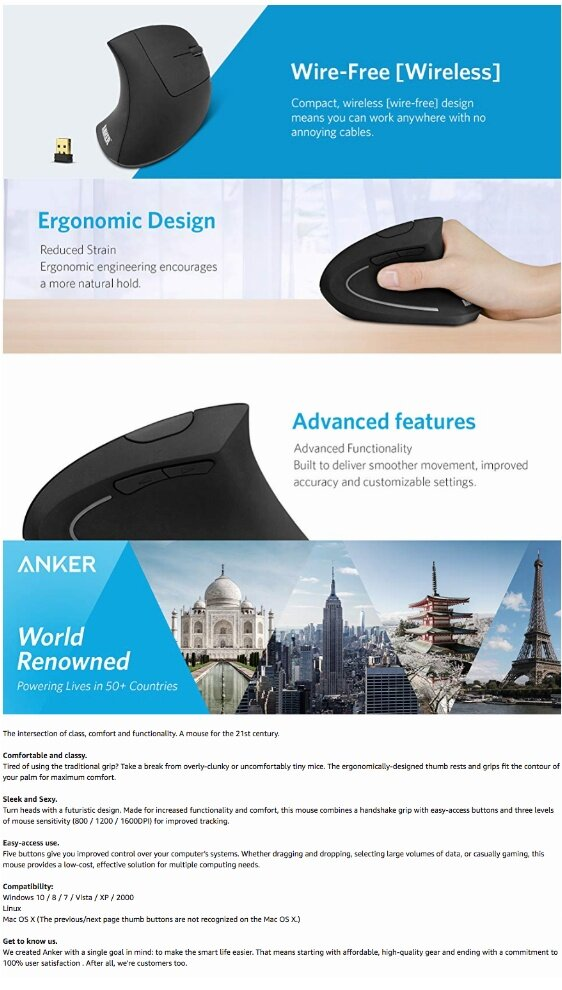 Anker Wireless Vertical Ergonomic Mouse AK-98ANWVM-UBA - 800/1200 /1600  DPI, 5 Buttons GENUINE