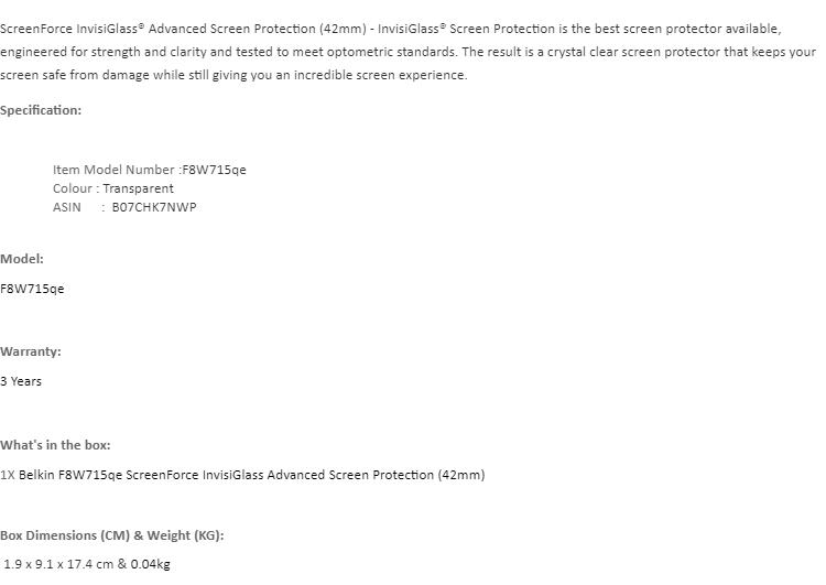 Belkin F8W715qe ScreenForce InvisiGlass Advanced Screen Protection (42mm)