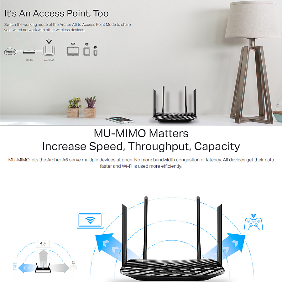 TP-LINK Archer A6 MU-MIMO Wave2 Gigabit AC1200 Wireless WiFi Router UNIFI /  MAXIS FIBRE / TIME FIBER with Access Point