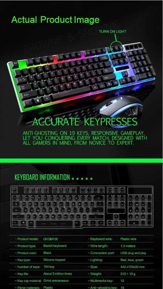 (Ready Stock) Colourful Backlight USB Gaming Keyboard and Optical Mouse  combo for Laptop Desktop PC