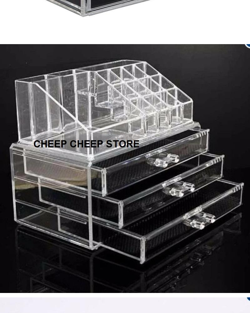 Clear Acrylic Cosmetic Organizer Drawer 4 Tier Makeup Jewelry Storage Display Rack Stand Box Container Lipstick