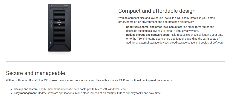 DELL POWEREDGE T30 SERIES (XEON E3-1225/8GB/1TB/3YRS ONSITE) MINI TOWER  SERVER