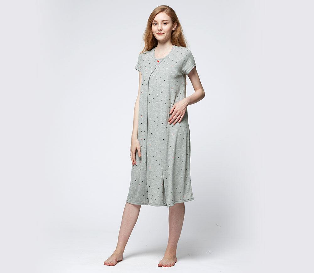 Mamaway Mickey Dotty Maternity & Nursing Pajama Dress (Grey)