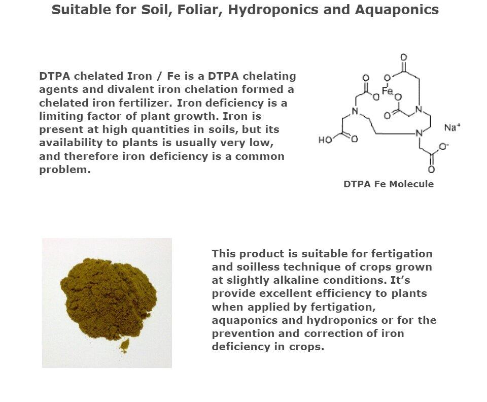 DTPA Fe 11% suitable for Soil, Foliar, Hydroponics and Aquaponics 250gm  (Olive)