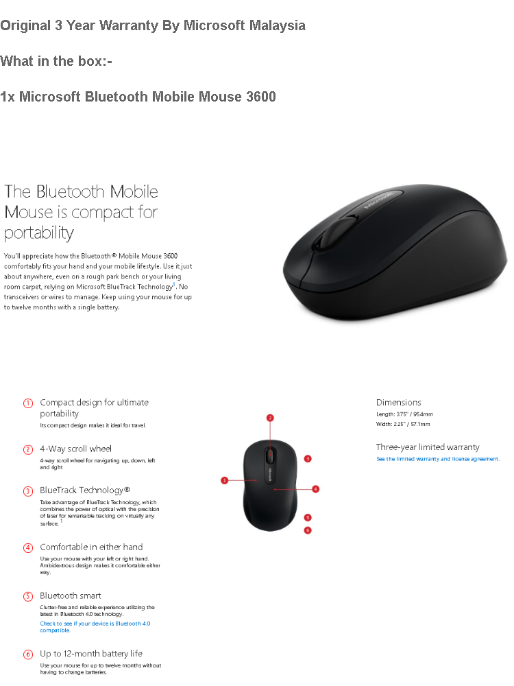 Microsoft Mouse Bluetooth & Wireless Mobile Mouse 3600 - Black (PN7-00005)