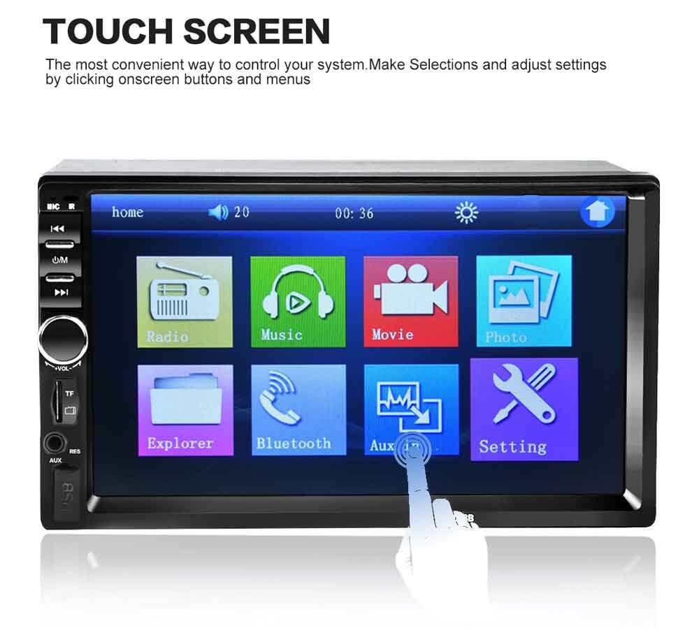 """Bluetooth Car Stereo Radio Audio Receiver Double Din 7/"""" Touch Screen USB TF AUX"""