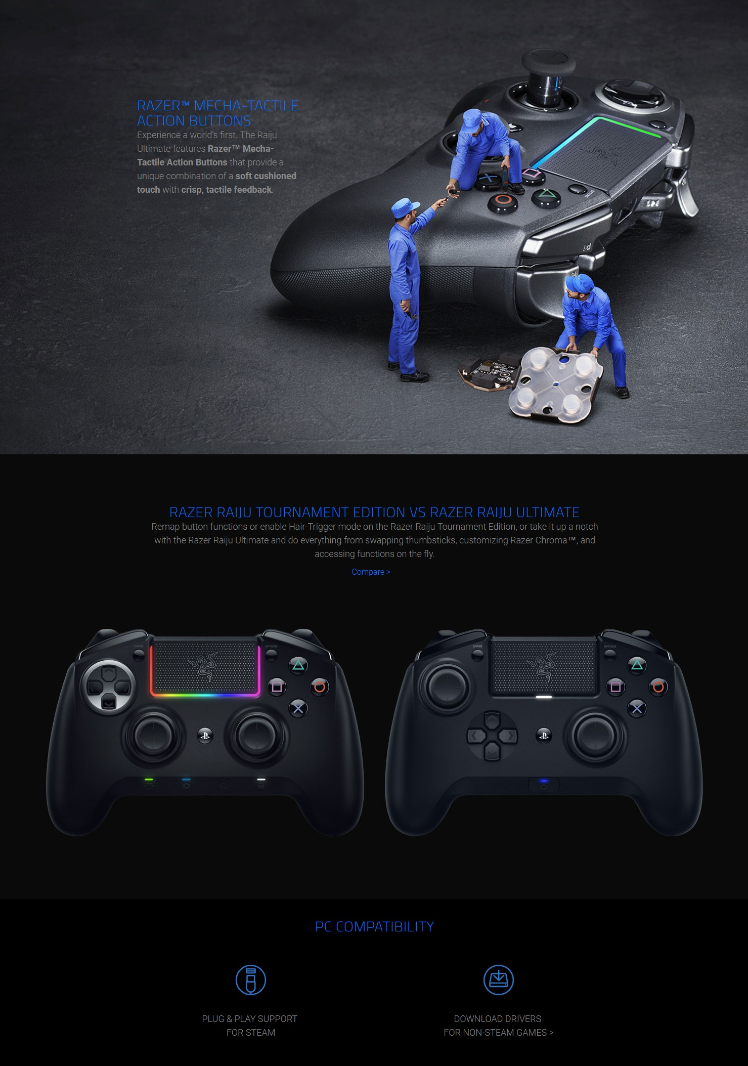 Razer Raiju Ultimate PS4 Controller (Bluetooth/Wired Connection,  Interchangeable Thumbsticks & D-Pad, Chroma, PS4/PC Compatible)