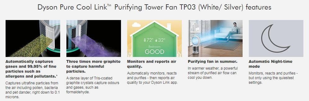 Kết quả hình ảnh cho Dyson Pure Cool Link⢠Purifying Tower Fan TP03