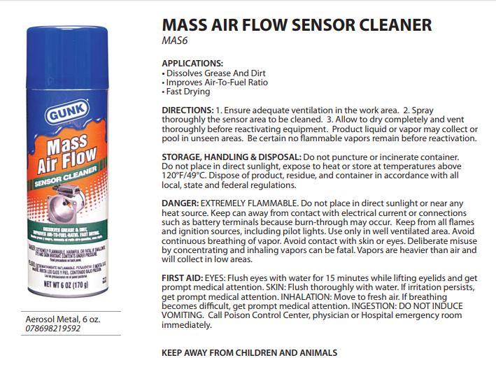 Dirty Mass Air Flow Sensor Cleaner – Meta Morphoz