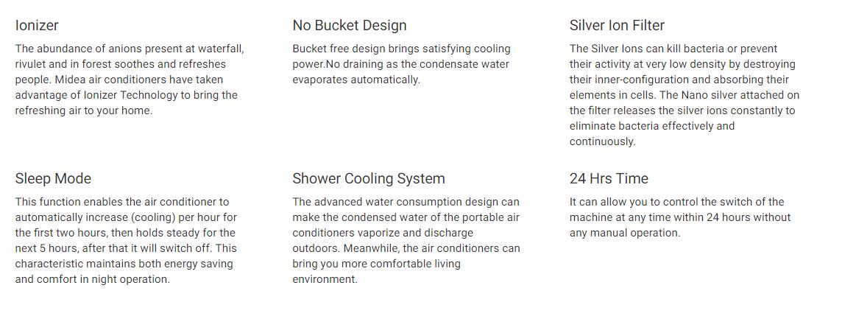 Midea Air Cond MPF12CRN1 1 5HP Ionizer Portable Air conditioners