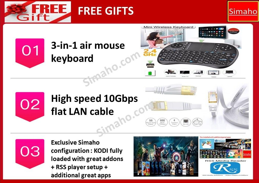 Unblocktech Ubox PROS Gen 7 Android TV Box Free Air Mouse Keyboard & High  Speed LAN Cable