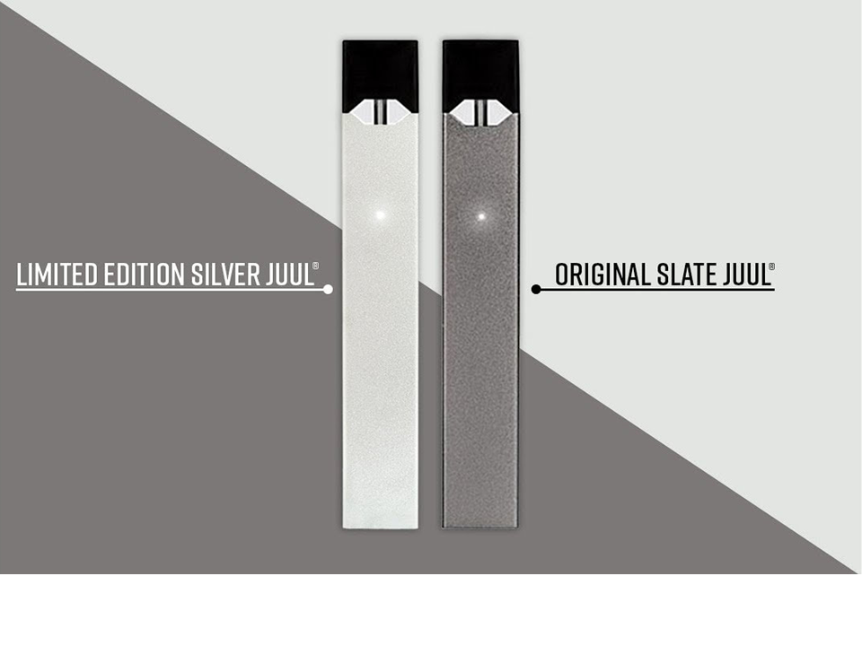 JUUL LIMITED EDITION SILVER Starter Kit, Device Only OR as Set with Pods  8  Flavours to Choose  Original imported from Juul Labs USA  USB Charger,