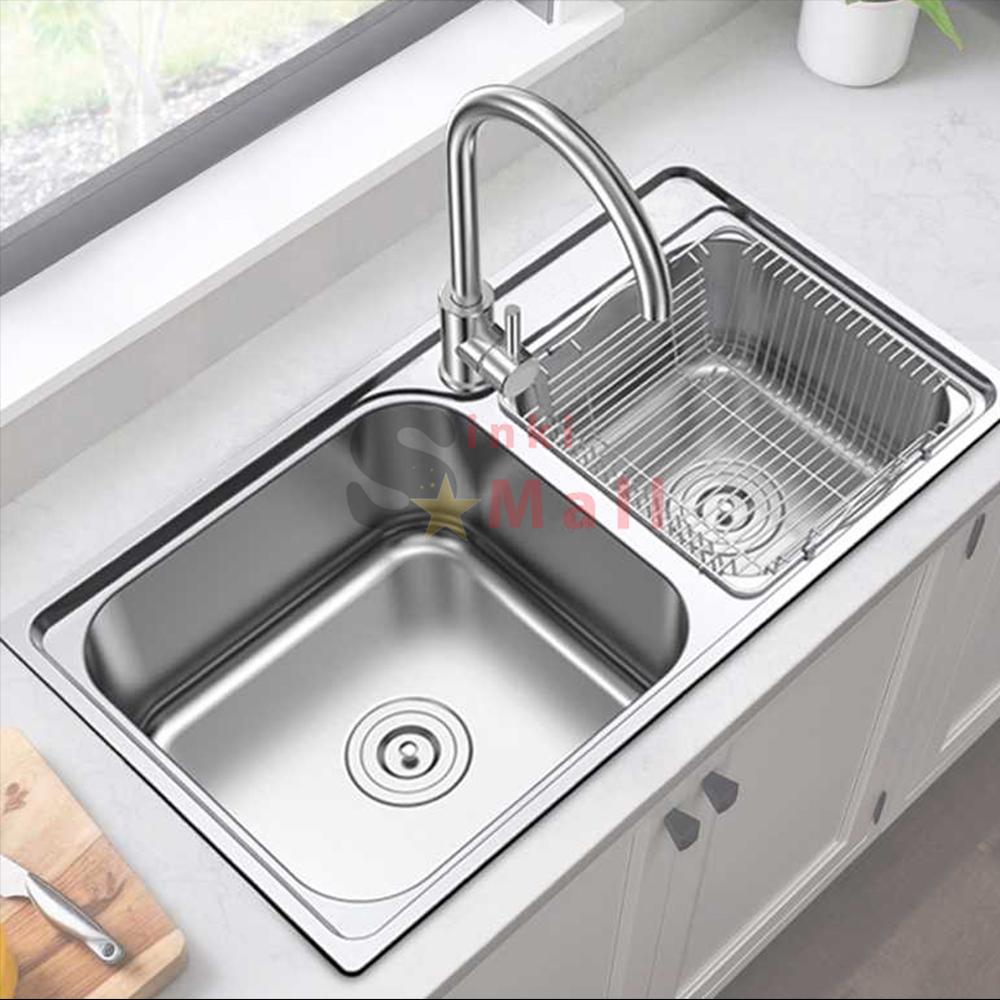 Eco Series 83x46 SUS 304 Stainless Steel Kitchen Double Sink Basin Counter  Topmount or Undermount