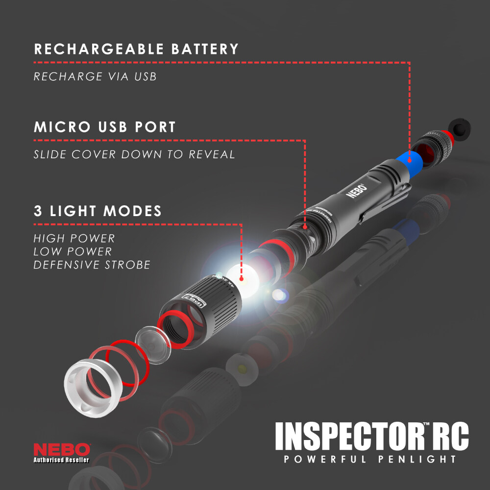 Nebo Inspector RC Rechargeable USB Pocket Flash Light 360 Lumens NEW SALE