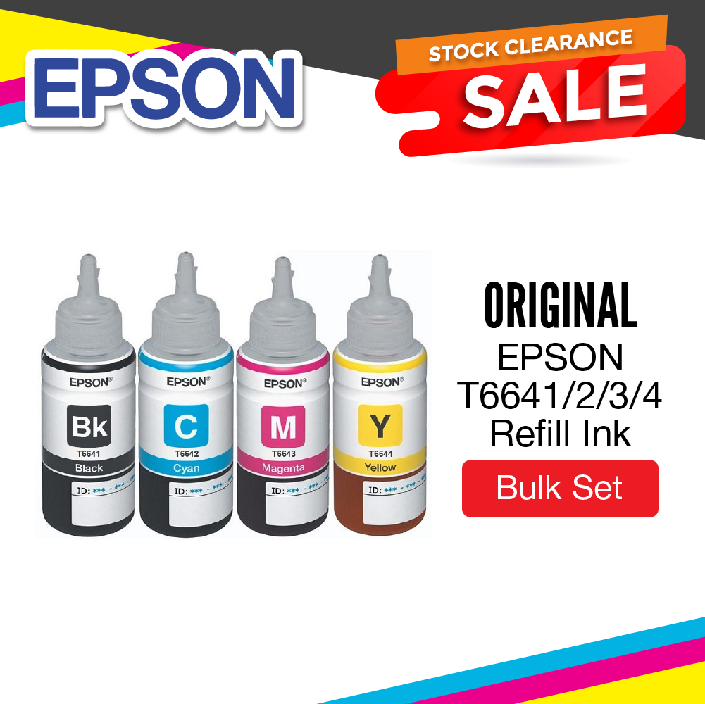 ⚡Clearance Stock Sale ⚡ EPSON T664 [Original] Refill Ink 70ml [ Black /  Cyan / Magenta / Yellow ] for l100, l120, l130, l200, l210, l220, l230,  l300,