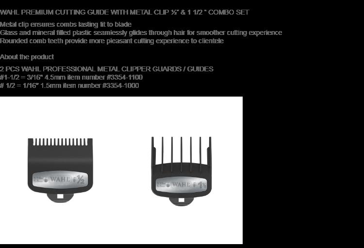 2 PCS Wahl Premium Clipper Cutting Guides Guards Metal Clip Set #1/2 & #1 1/2 | Lazada