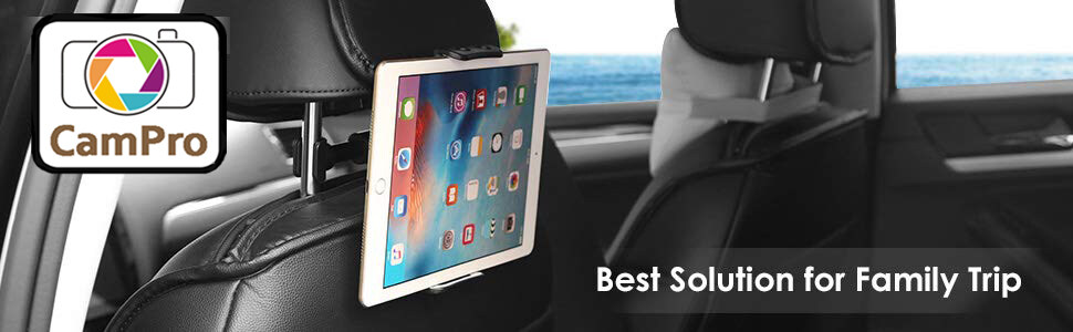 Phone and Tablet Holder Car Rear Pillow Stand 360 Degrees Rotate Back Seat  Holder Stand Headrest Tablets Mount Bracket, Support for iPhone Tablet PC