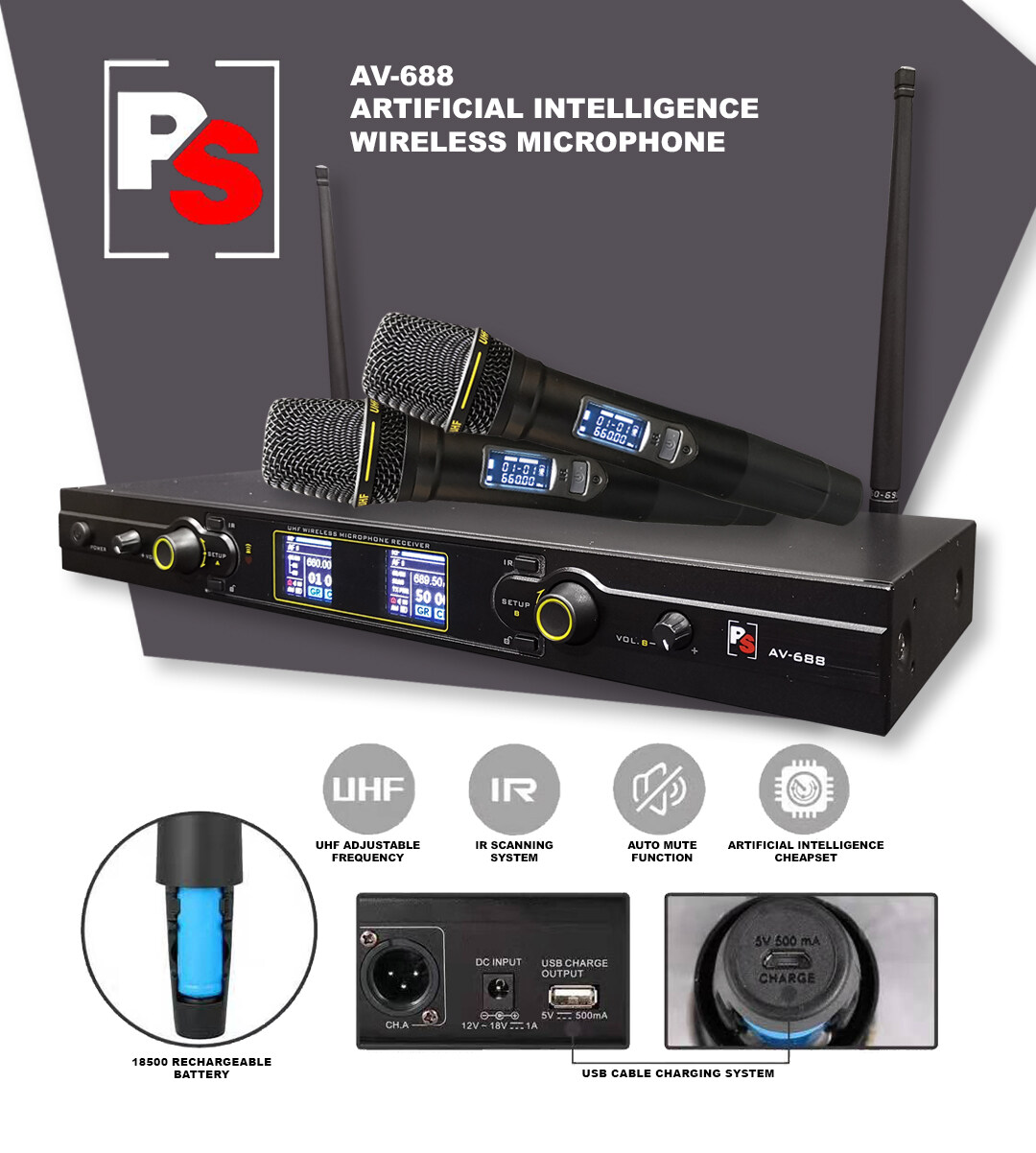 PS AV-688 UHF Professional Audio Duo Channel Wireless Microphone Pro Sound  Stage Audio