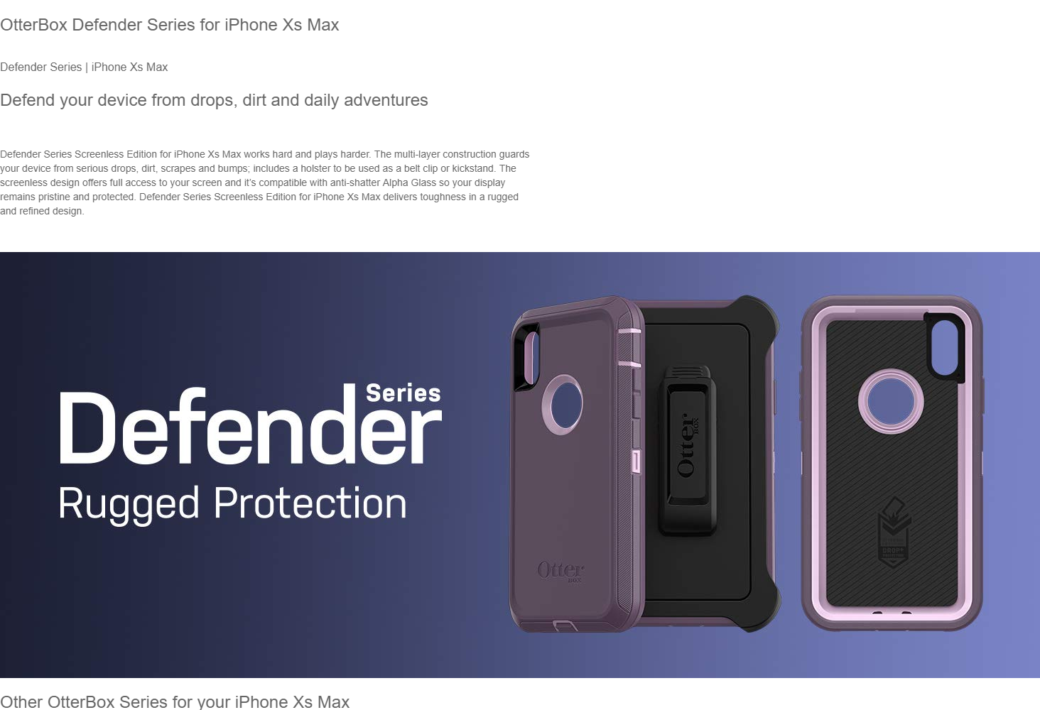 buy popular 1337c 32a5a OtterBox Defender Series Screenless Edition Case for iPhone Xs Max ...
