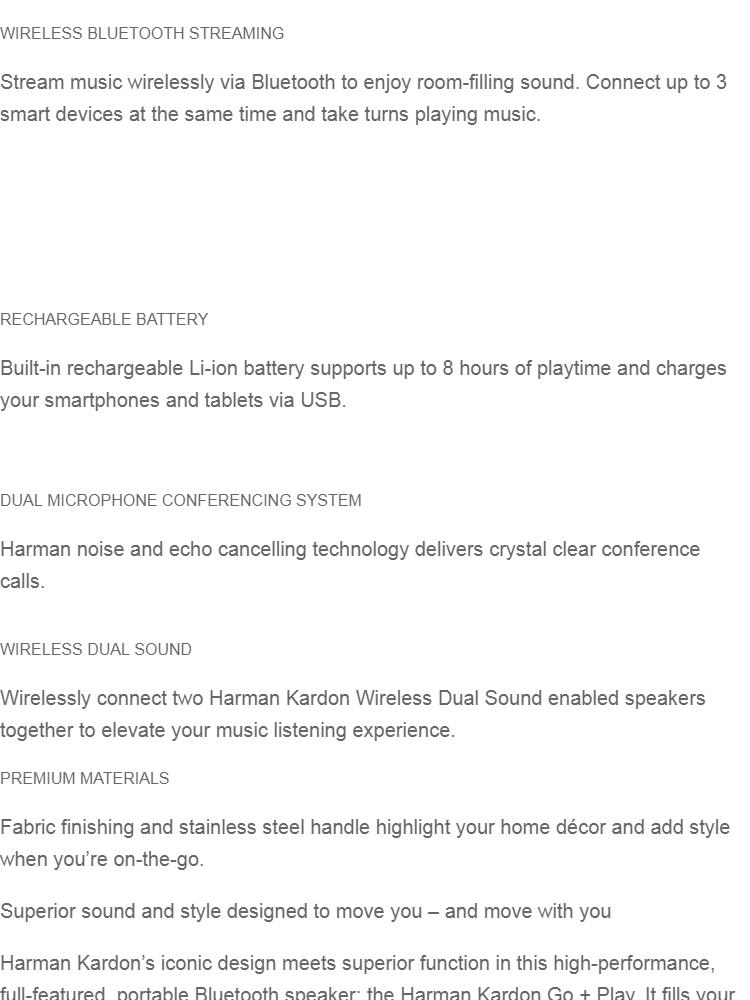 Harman Kardon Go + Play Portable Bluetooth Speaker - White