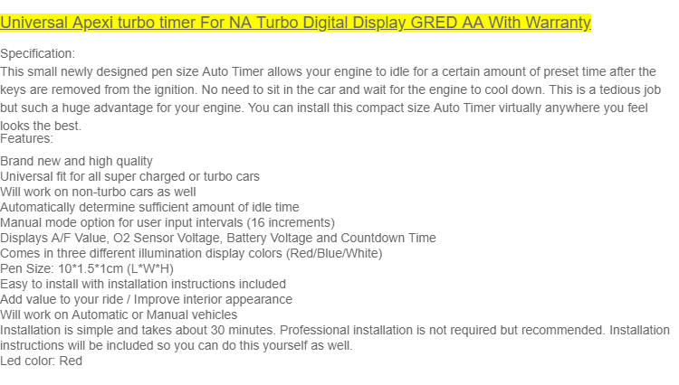 Universal Apexi turbo timer For NA Turbo Digital RED Display GRED AA ...