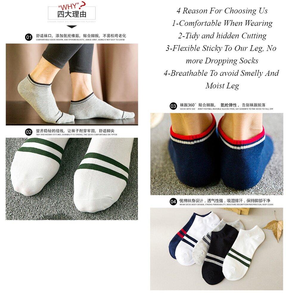 [Ready Stock] 3 Pairs Korean Series Men\'s Women\'s Ankle Socks Casual  Formal Long Lasting Sports Socks Top Material