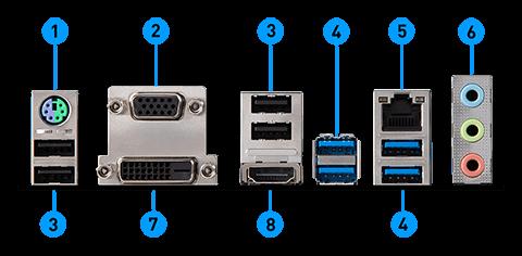 MSI B450M PRO-VDH MAX back panel ports